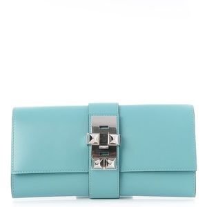 HERMES turquoise blue  23 Clutch